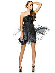 A-Line Strapless Short / Mini Organza Cocktail Party Homecoming Prom Company Party Dress with Flower(s) Side Draping by TS Couture®