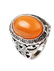 Недорогие -Муж. Заявление Оранжевый Зеленый Драгоценный камень Сплав азиатский резной западный стиль Повседневные Бижутерия ремесленник Цветы Коктейльное кольцо