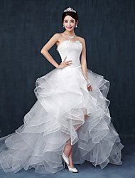 Ball Gown Sweetheart Asymmetrical Lace Tulle Wedding Dress with Beading Ruffle by Embroidered Bridal