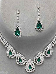 cheap -Women's Jewelry Set - Cubic Zirconia, Imitation Diamond Drop Party, Elegant, Bridal Include Drop Earrings / Pendant Necklace Emerald / Sapphire / Light Olive For Party / Special Occasion / Anniversary