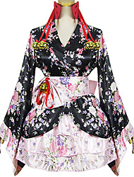 One-Piece/Dress Maid Suits Classic/Traditional Lolita Lolita Cosplay Lolita Dress Pink Black Patchwork Print Long Sleeve Short Length