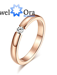 cheap -Ring Fashion Party Jewelry Cubic Zirconia / Steel Women Band Rings 1pc,One Size Rose Gold