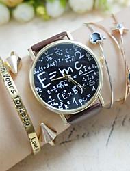Mulheres Relógio de Moda Bracele Relógio Cronógrafo Quartzo PU Banda Relógios com Palavras Preta Branco Marrom