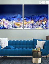 E-HOME® Stretched LED Canvas Print Art Snow Village Christmas Series LED Flashing Optical Fiber Print Set of 2