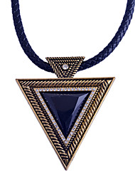 cheap -Women's Triangle Geometric Punk Pendant Necklace Synthetic Sapphire Black Gemstone Synthetic Gemstones Resin Alloy Pendant Necklace ,