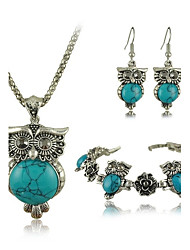 Owl Jewelry Sets Tibetan Vintage Silver Retro Turquoise Stone Pendant Necklace drop earrings Charm bracelet Set