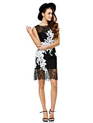 Gaine / colonne col large robe de soirée courte / mince avec appliques by ts couture®