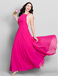 A-Line Spaghetti Straps Ankle Length Chiffon Bridesmaid Dress with Pleats by LAN TING BRIDE®