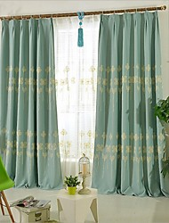 cheap -Rod Pocket Grommet Top Tab Top Double Pleat Two Panels Curtain Country , Embroidery Bedroom Linen / Cotton Blend Material Curtains Drapes