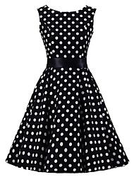 abordables -Femme Rétro Coton Trapèze Robe Points Polka Mi-long