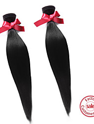 cheap -EVET Hair Unprocessed Brazilian Virgin Hair Extension Wholesale Straight Human Hair Weaves 2Pcs/Lot Natural Color