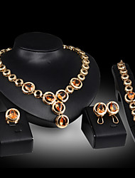 cheap -Jewelry Set - Gemstone, Cubic Zirconia Drop Party, Link / Chain Include Gold / Red For / Earrings / Necklace