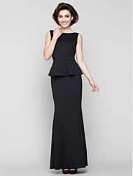 Mermaid / Trumpet Scoop Neck Ankle Length Jersey Mother of the Bride Dress with Pleats by LAN TING BRIDE®