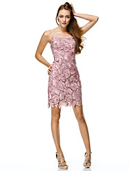 cheap -Sheath / Column Boat Neck Short / Mini All Over Lace / Corded Lace Beautiful Back Prom Dress with Pearls by TS Couture®