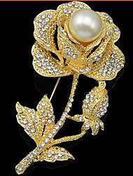 Женский Броши Цветочный дизайн Цветы Мода Pоскошные ювелирные изделия Цветочный принт Жемчуг Искусственный бриллиант В форме цветка Роуз