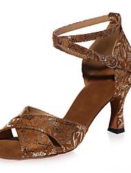 """cheap -Women's Latin Flocking Sandal Performance Pattern / Print Flared Heel Black Brown Black/Gold 2"""" - 2 3/4"""" Customizable"""