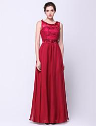 ts Couture® bal formelle robe de soirée une ligne de scoop-parole longueur chiffon / dentelle avec fleur (s) / dentelle