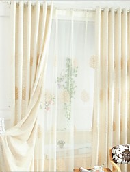 cheap -Curtains Drapes Bedroom Linen / Cotton Blend Embroidery