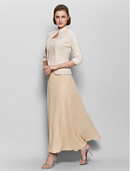cheap -A-Line Square Neck Ankle Length Chiffon / Corded Lace Mother of the Bride Dress with Lace by LAN TING BRIDE®