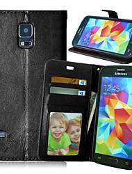 رخيصةأون -غطاء من أجل Samsung Galaxy حالة سامسونج غالاكسي محفظة / حامل البطاقات / مع حامل غطاء كامل للجسم لون سادة جلد PU إلى S6 edge plus / S6 edge / S6