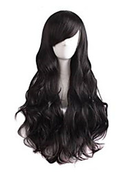 cheap -Capless Black  Long High Quality Natural Curly Synthetic Wigs with Side Bang
