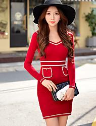 Недорогие -женская красный / черный платье, V шеи сексуальный Bodycon вязать длинным рукавом платье