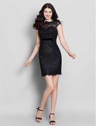 Sheath / Column Bateau Neck Short / Mini Lace Bridesmaid Dress with Buttons Lace by LAN TING BRIDE®