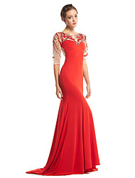 cheap -Mermaid / Trumpet Scoop Neck Sweep / Brush Train Tulle Jersey Prom Formal Evening Dress with Beading by TS Couture®