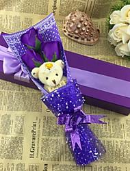 economico -fiore di simulazione novità regalo di compleanno rosa sapone fiore con orso