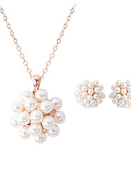 Women's Jewelry Set Luxury Wedding Party Daily Casual Pearl 1 Necklace 1 Pair of Earrings