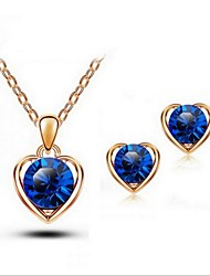 cheap -High Quality Crystal Heart Pendant Jewelry Set Necklace Earring Gold Plated (Assorted Color)