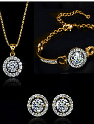 cheap -Jewelry Set Party Work Link/Chain Gemstone & Crystal Zircon Cubic Zirconia Gold Plated Bracelet Necklace Earrings