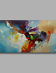 "cheap -Ready to hang Stretched Hand-Painted Oil Painting Canvas  40""x20"" Wall Art Abstract Orange Yellow Light Blue"