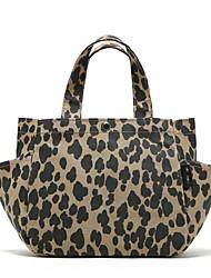 Mulher Bolsas Outono PVC Bolsa de Ombro para Compras Casual Leopardo