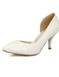 cheap -Women's Girls' Shoes Leatherette Spring Summer Stiletto Heel for Wedding Office & Career Dress White Black Yellow Red