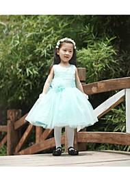 Plesový šaty koleno délka květina dívka šaty - tyle bez rukávů šperk krk s květem