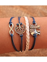 leather Charm BraceletsUnisex Multilayer Leather Bracelet  Elephant & life Tree inspirational bracelets Gifts