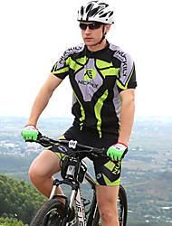 cheap -Nuckily Short Sleeve Cycling Jersey with Shorts - Green Bike Shorts / Jersey / Clothing Suit, Waterproof, Anatomic Design, Ultraviolet Resistant, Waterproof Zipper, Breathable Polyester Patchwork