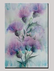 abordables -Pintado a mano paisaje abstracto moderno floración flores pintura al óleo sobre lienzo listo para colgar un panel