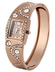 abordables -Femme Montre Diamant Simulation Montre Tendance Quartz Imitation de diamant Plaqué Or Rose Polyuréthane Bande A Perles Elégant Noir Marron