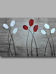 "Ready to hang Stretched Hand-Painted Oil Painting 36""x24"" on Canvas Wall Art Abstract Heavy Oils Red Flowers Grey"