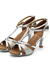 cheap -Women's Latin Shoes / Samba Shoes / Salsa Shoes Sparkling Glitter / Satin Sandal Indoor Sparkling Glitter / Buckle Customized Heel