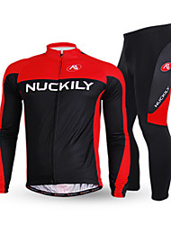 Nuckily Cycling Jersey with Tights Men's Long Sleeves Bike Clothing Suits Bottoms Thermal / Warm Anatomic Design Fleece Lining Insulated