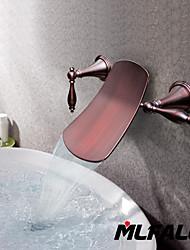 abordables -Antique Montage mural Jet pluie Soupape céramique 3 trous Deux poignées trois trous Bronze huilé , Robinet de baignoire Robinet lavabo