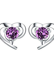 Lureme®  Korean Fashion Sweet 925  Sterling Silver Crystal Heart-Shaped Earrings