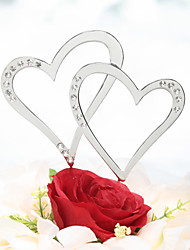 Cake Topper Beach Theme Classic Theme Fairytale Theme Hearts Chrome Wedding Anniversary With Rhinestone PVC Bag