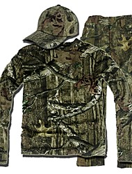 cheap -Camouflage Hunting Suit , Camo Hunting Long Sleeve Shirt ,Trousers (Jacket + Trousers + peaked cap)