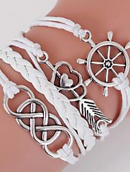 economico -bracciale avvolgente intrecciato in stile retrò a più strati bianco cuore cuore con rivetto