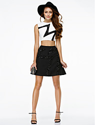 cheap -A-Line Two Piece Jewel Neck Short / Mini Chiffon Cocktail Party / Homecoming / Prom / Company Party / Holiday Dress with Sequin by TS