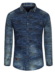 Men's Denim Shirt , Mens Casual Dress Shirt Long Sleeve Shirt,Jeans Shirt with Camouflage Printing